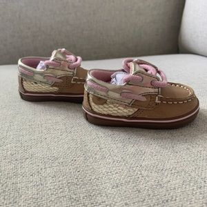 Sperry baby tan and pink boat shoes size 1